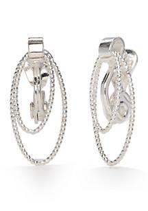 Napier Silver Tone Clic Textured Links Clip Earrings