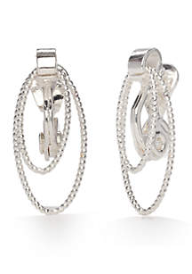 Silver-Tone Classic Textured Links Clip Earrings