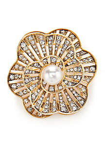 Gold-Tone Pearl Flower Boxed Pin