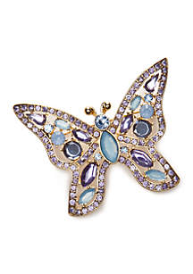Silver-Tone Butterfly Boxed Pin