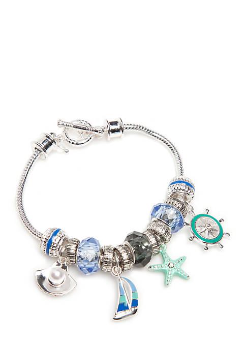 Napier Silver Tone Sea Life Charm Boxed Bracelet