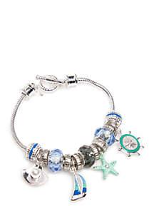 Silver-Tone Sea Life Charm Boxed Bracelet
