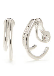 Napier Silver Tone Double C Hoop Clip Earrings
