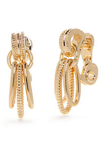 Gold-Tone Doorknocker Clip Earrings