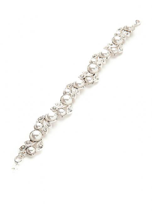 Napier Silver Tone Faux Pearl Flower Boxed Bracelet