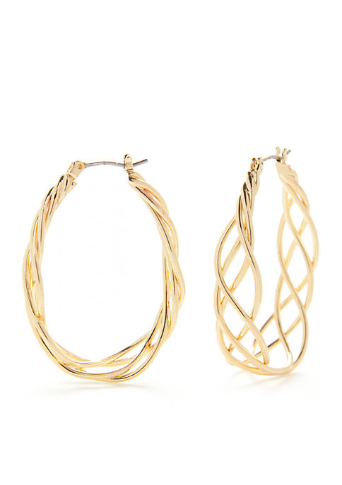 Gold-Tone Classic Large Braided Hoop Earrings
