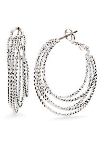 Silver-Tone Classic Multi Layered Hoop Earrings