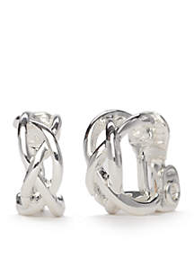 Silver-Tone Small Criss Cross Clip Hoop Earrings