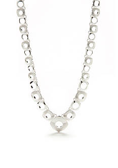 Napier Silver-Tone Silver Ridge Collar Necklace