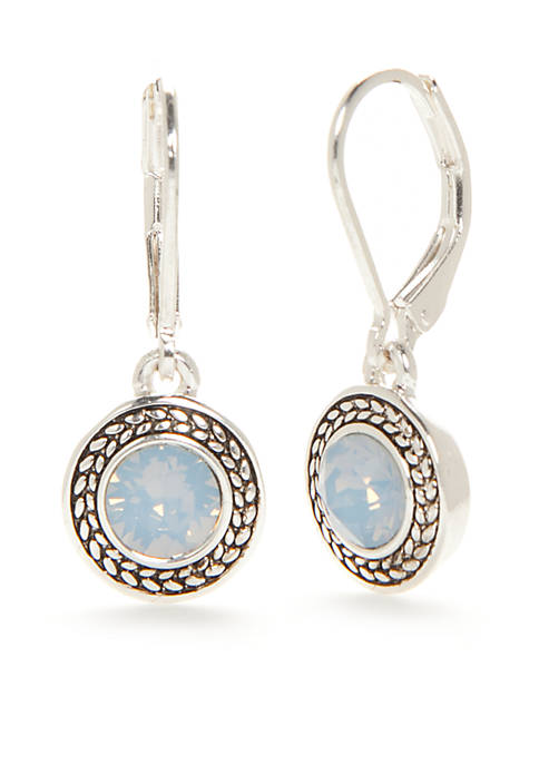 Napier Silver-Tone Color Declaration Blue Opal Swarovski Drop