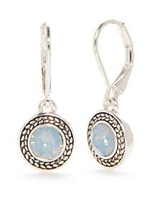 Silver-Tone Color Declaration Blue Opal Swarovski Drop Earrings