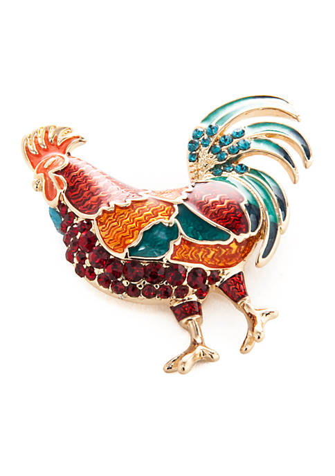 Napier Gold-Tone Box In The Jungle Rooster Pin