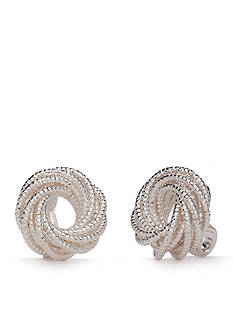Napier Silver-Tone Textured Circle Clip Earrings