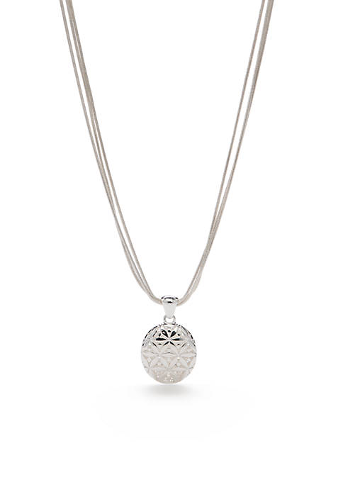 Napier Silver-Tone Point Of View Pendant Necklace