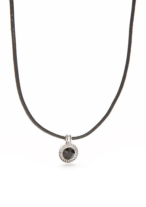 Napier Silver-Tone Black Declaration Choker Necklace