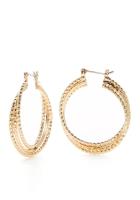 Napier Gold-Tone Twisted Hoop Earrings