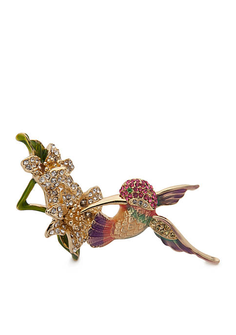 Napier Gold-Tone Box In The Jungle Hummingbird Flower
