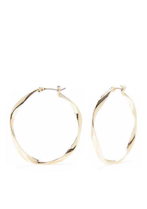 Napier Gold-Tone Classic Tunes Twisted Hoop Earrings