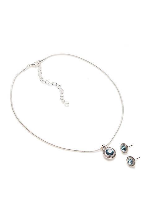 Napier Silver-Tone Aqua Declar Necklace and Earring Set