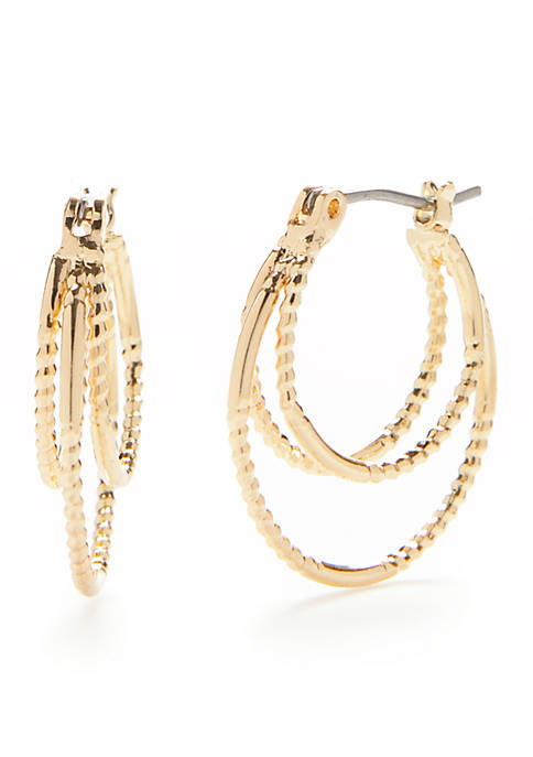 Napier Gold-Tone Nicely Paired Double Click It Hoop