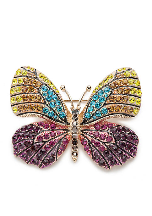 Napier Gold-Tone Tis The Season Butterfly Pin