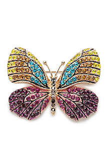 Gold-Tone Tis The Season Butterfly Pin