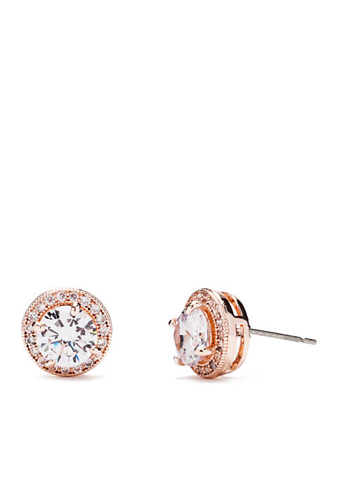 Rose Gold-Tone Cubic Zirconia Round Post Stud Earrings