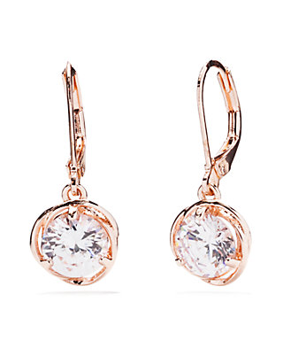 b6b5bf7501235 Napier Rose Gold Tone Cubic Zirconia Drop Lever Back Earrings
