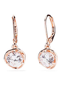 Rose Gold-Tone Cubic Zirconia Drop Lever Back Earrings