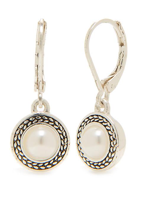 Silver-Tone Pearl Drop Earrings