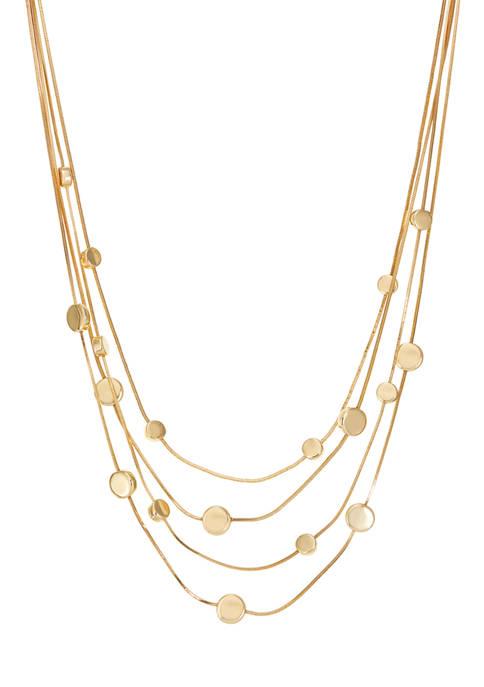 Napier Gold Tone 16 Inch Multi Row Necklace