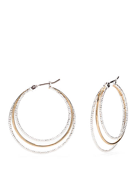 Two-Tone Silver & Gold A Fine Line Wide Hoop Earrings