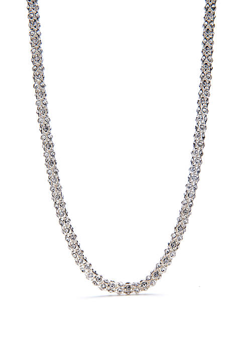 16 in Silver Crystal Stone Collar Necklace