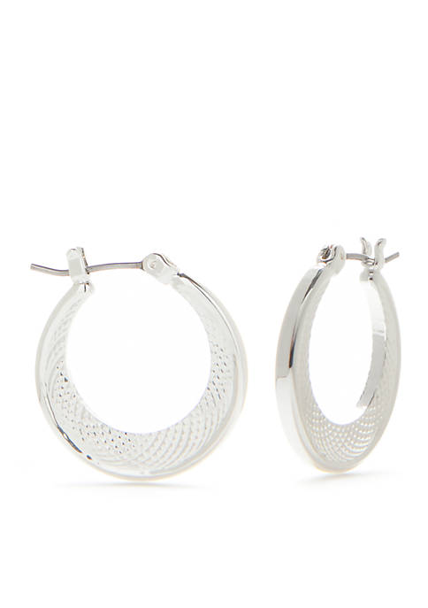 Silver-Tone Listen Up Small Click Hoop Earrings