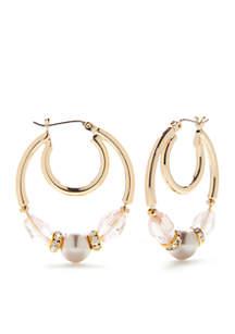 Gold-Tone Pink Mink Bead Hoop Earrings