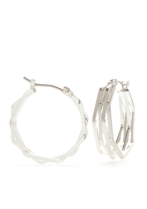 Napier Silver-Tone Listen Up Medium Hoop Earrings
