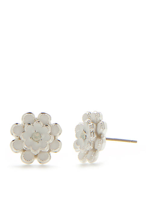 Silver-Tone Primrose Flower Stud Earrings