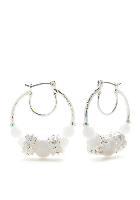 Napier Silver-Tone Primrose Bead Hoop Earrings