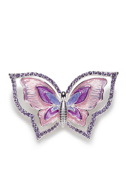 Napier Silver Plated Box Treasure Butterfly Pin