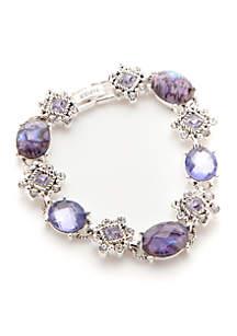 Silver-Tone Box Treasure Stone Line Flex Bracelet
