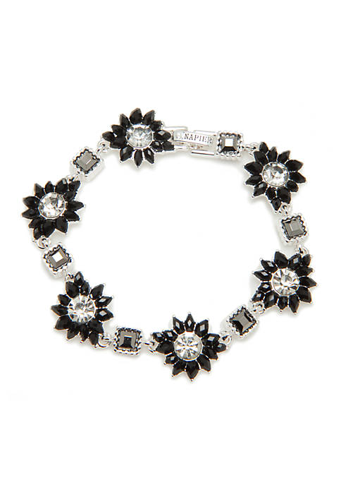 Napier Silver-Tone Box Treasure Flower Square Flex Bracelet