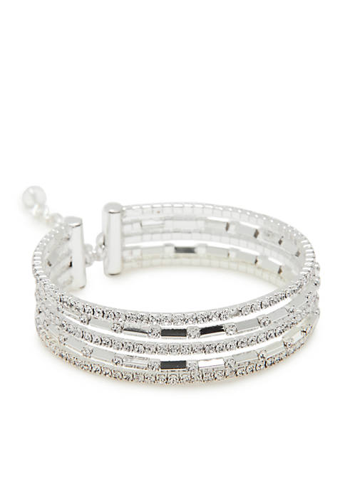 Napier Silver-Tone Good Evening Coil Flex Bracelet