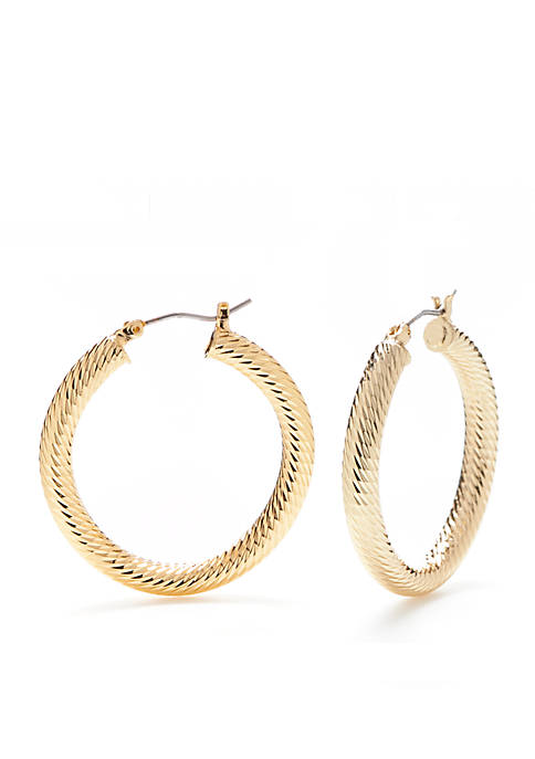 Napier Gold-Tone Medium Textured Click Hoop Earrings