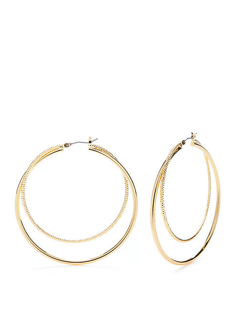 Napier Gold-Tone Large Double Click Hoop Earrings
