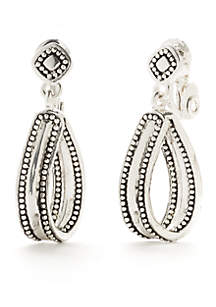 Silver-Tone Tune In Double Drop Clip Earrings