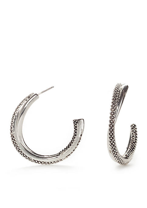 Napier Silver-Stone Refined Open Twist Hoop Earrings