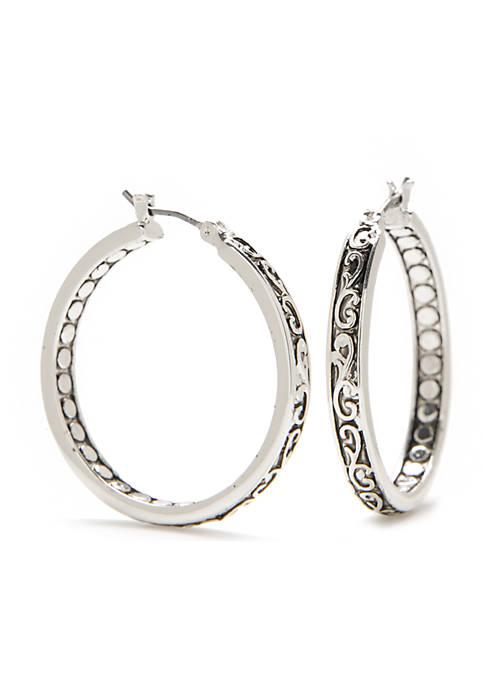 Napier Silver-tone Refined Textured Hoop Earrings