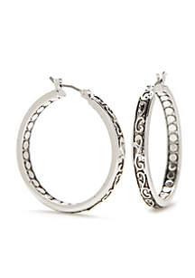 Silver-tone Refined Textured Hoop Earrings