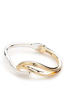 Silver And Gold-Tone Refined Swirl Cuff Bracelet