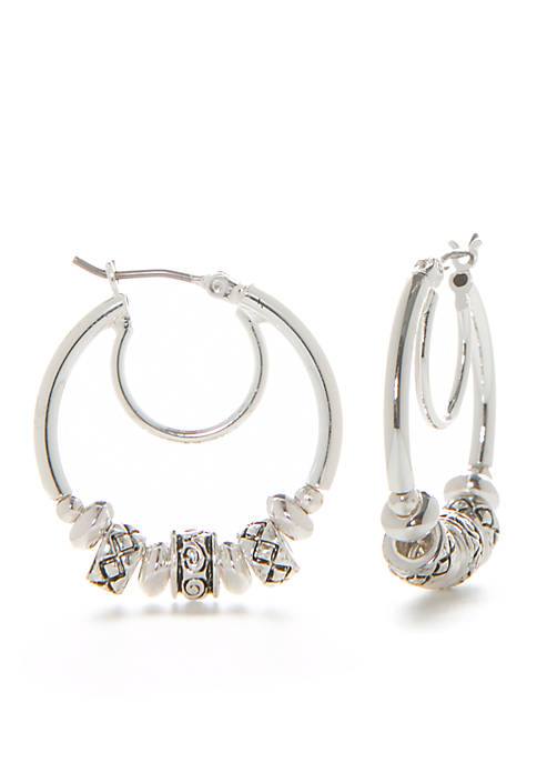 Napier Antiqued Silver-Tone Office Casual Bead Click-it Hoop